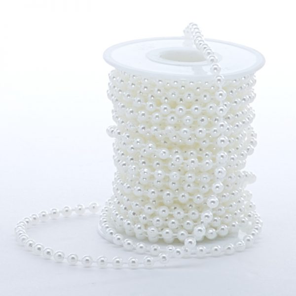 Satin 8mm X 10 Yards White Pearl Chain by Ribbons.com