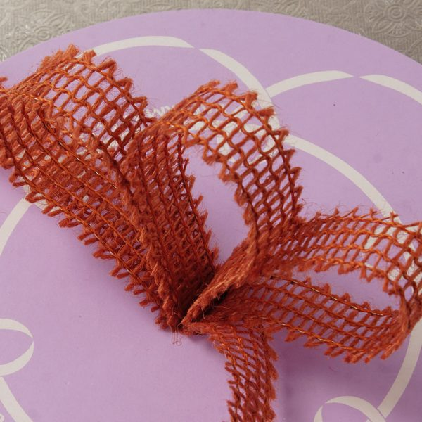 "7/8"" X 25 Yards Mesh Burnt Orange Wired Burlap Ribbon by Ribbons.com"