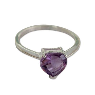 Genuine 1.5 Carat Amethyst Solitaire Ring from India