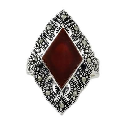 Artisan Crafted Marcasite and Enhanced Onyx Ring