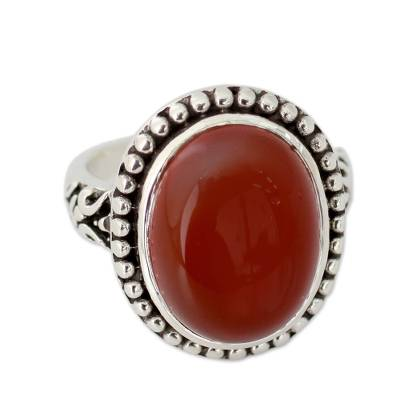 Enhanced Red Onyx and Sterling Silver Cocktail Ring