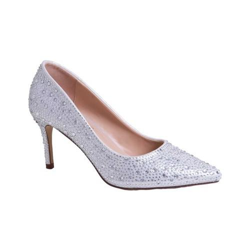 Women's Lauren Lorraine Jewel Pump, Size: 9 M, Silver Fabric