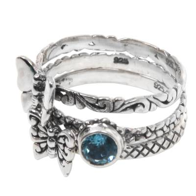 Set of 3 Stacking Silver Butterfly Rings with Blue Topaz
