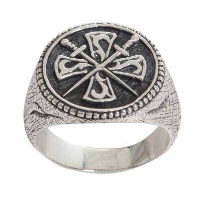 Crossed Swords Sterling Silver Signet Ring for Men