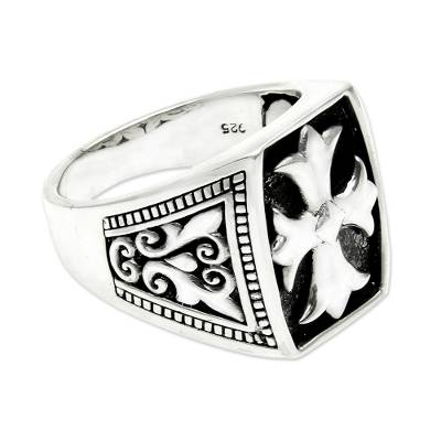 Cross Signet Sterling Silver Ring for Men