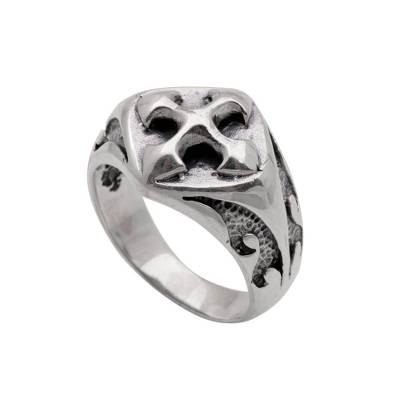Sterling Silver Unisex Cross Cocktail Ring from Bali