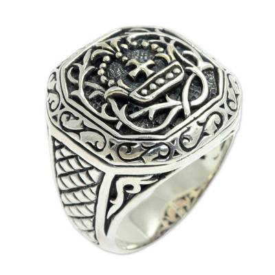 Men's Sterling Silver Cross Signet Ring