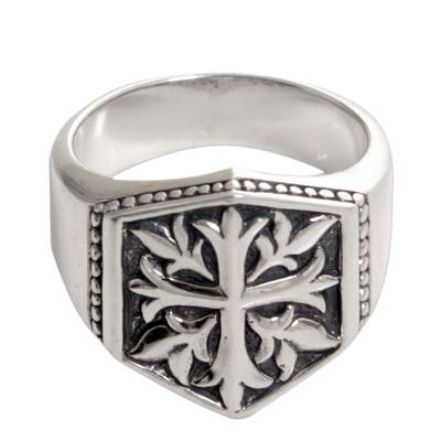 Sterling Silver Men's Cross Signet Ring from Indonesia