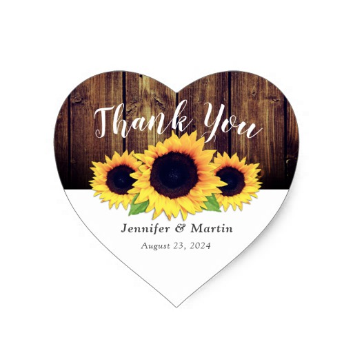 Rustic Sunflower Wedding Favor Stickers