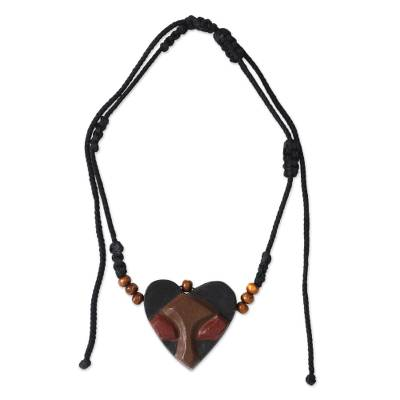 African Heart Mask Necklace for Men's Jewelry