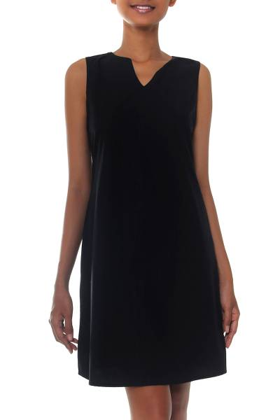 Women's Black Cotton Sleeveless Shift Dress from Bali