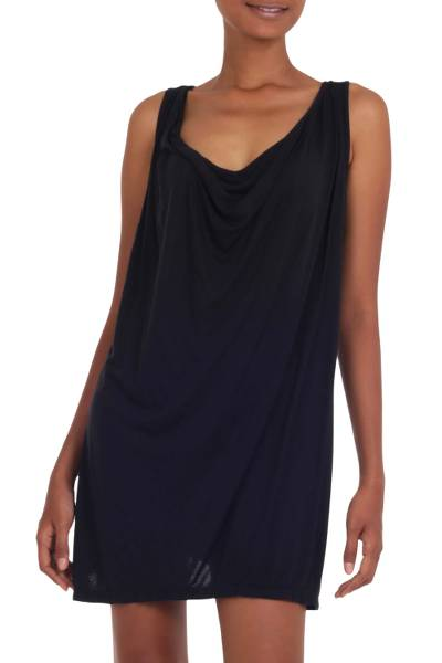 Sleeveless Little Black Dress Jersey with Plunging Neckline