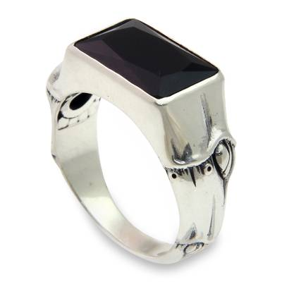 Balinese Handmade Men's Silver and Black Onyx Ring