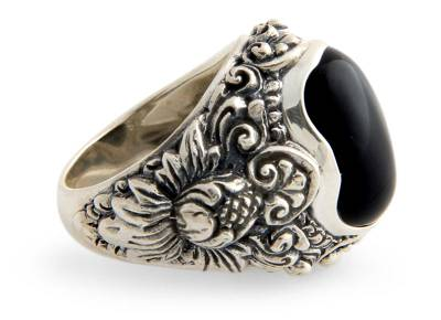 Men's Floral Sterling Silver and Onyx Ring
