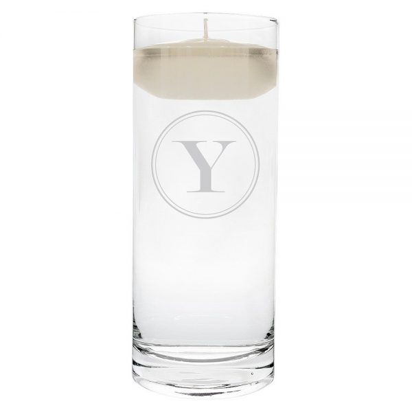 'y' Monogram Floating Wedding Candle