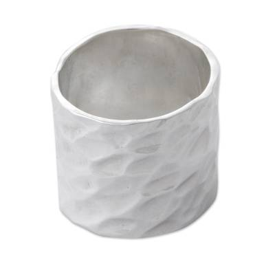 Sterling Silver Hammered Band Ring From Peru