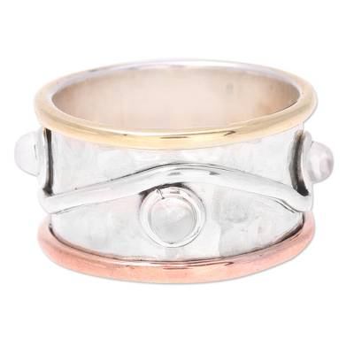 Mixed Metals and Rainbow Moonstone Hammered Band Ring