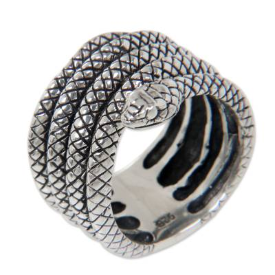 Wide Sterling Silver 925 Snake Motif Band Ring
