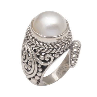 Handmade 925 Sterling Silver Cultured Pearl Snake Ring