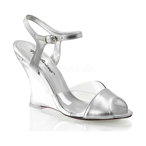 Women's Fabulicious Lovely 442, Size: 9 M, Clear/Silver Metallic PU/Clear