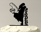 Fishing Wedding Cake Topper, Personalized Fishing Themed Cake Topper, Fishing Cake Topper, Silhouette Cake Topper, MADE In USA