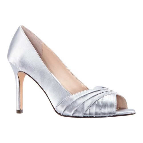 Women's Nina Rhiyana Open Toe Pump, Size: 8 M, New Silver Satin