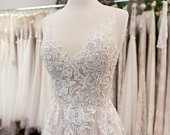 Beaded lace wedding dress sleeveless wedding dress bridal gown lace bridal dress lace bridal gown lace wedding gown lace dress wedding