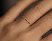 Wedding Band / Half Eternity Diamond Ring / Minimalist Ring / Engagement Ring / Flat Ring / 14K Gold Ring / Aniversary Gift / Gifts for Her