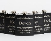 Engraved Groomsmen Gifts, Personalized Flasks, Black, Stainless Steel Flasks, Wedding Party Gifts, for Him, Her, Hip Flask, Whiskey Gift