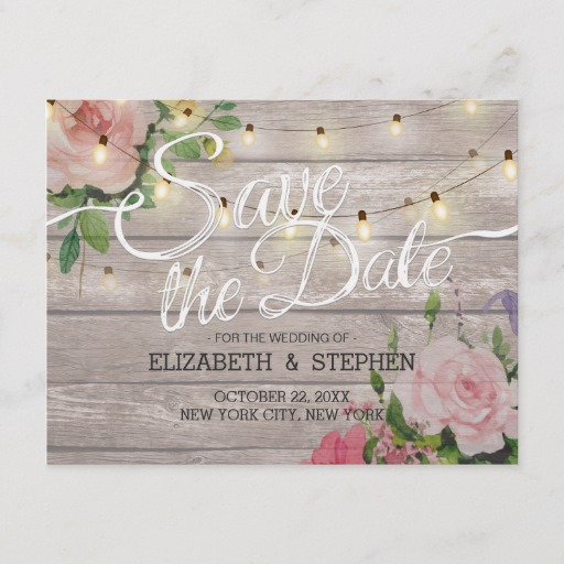Rustic Wood Floral String Lights Wedding Save Date Announcement Postcard