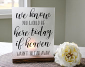 Memorial Candle Holder Wedding Memorial Heaven Memorial We Know You Would Be Here Today Acrylic Sign Wedding Luminary Sign