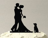 MADE In USA, Include Your Dog Bride Groom Silhouette Wedding Cake Topper Dog Pet Family of 3 Wedding Cake Topper Bride and Groom Topper