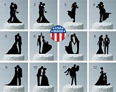 MADE In USA, Your Choice of 12 Different Wedding Cake Toppers to Choose From, Bride and Groom Silhouette Wedding Cake Topper Acrylic
