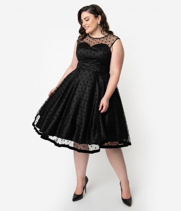 Collectif Plus Size 1950S Style Black Swiss Dot Illusion Neckline Faye Swing Dress