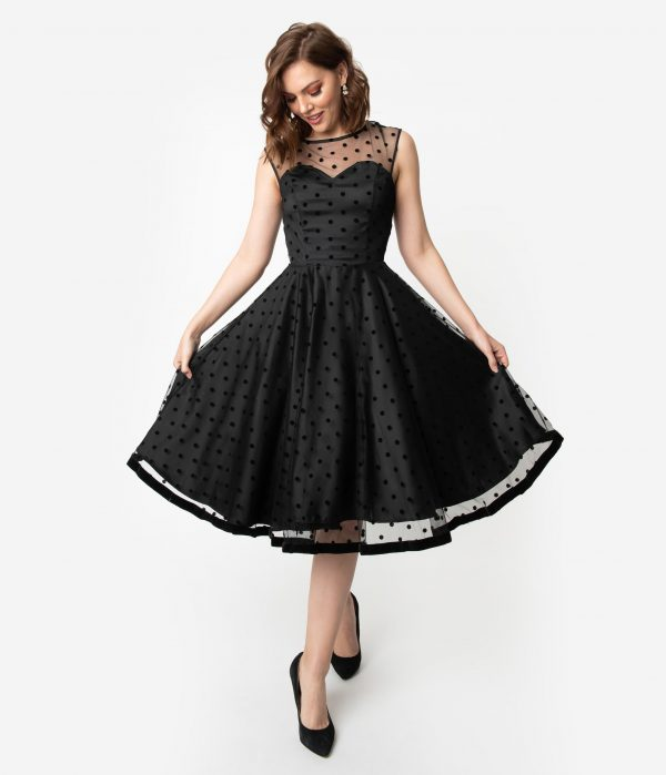 Collectif 1950S Style Black Swiss Dot Illusion Neckline Faye Swing Dress
