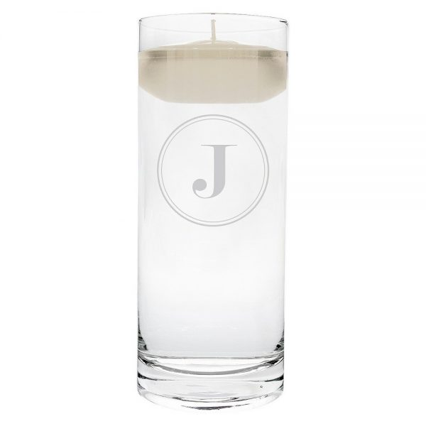 'j' Monogram Floating Wedding Candle