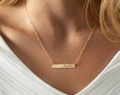 Custom Name Bar Necklace Personalized Jewelry Name Plate Necklace
