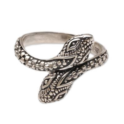 Hand Made Sterling Silver Snake Wrap Ring from Indonesia