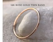 Rose Gold SOLID 14k Ultra Thin Wedding Band, Trendy, dainty slim Stacker Stackable Spacer Thumb Ring Very Thin minimal midi mothers day gift