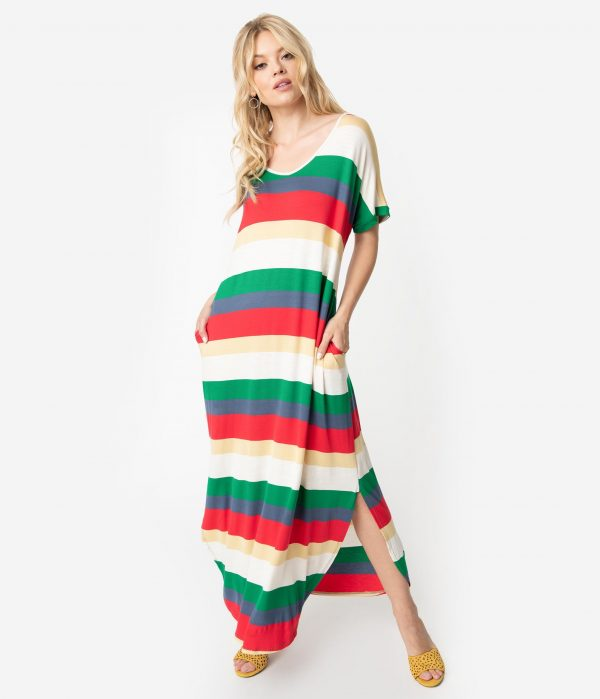 Retro Style Multicolor Stripe Half Sleeve Maxi Dress
