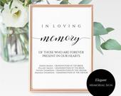 In Loving Memory Sign Printable and Editable Loved Ones in Heaven Sign Remembrance Sign for Wedding Ready to Print INSTANT DOWNLOAD