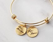 Handwriting Bracelet / Handwriting Jewelry / Actual Handwriting / Signature Bangle Bracelet / Memorial Gift / Personalized Charm Bracelet