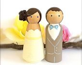 Cute WEDDING CAKE TOPPER, Custom Cake Topper Peg Dolls, Large Wood Bride and Groom Figurines Cake Topper, Mr and Mrs, Made In Usa