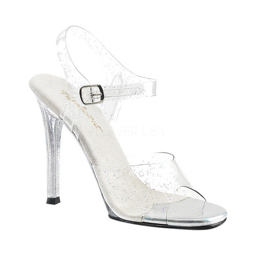 Women's Fabulicious Gala 08MMG Ankle-Strap Sandal, Size: 5 M, Clear PVC/Clear