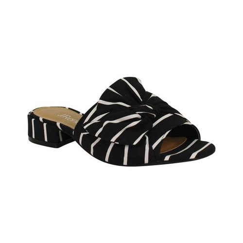 Women's J. Renee Sattuck Slide, Size: 5.5 M, Black/White Stripped Fabric