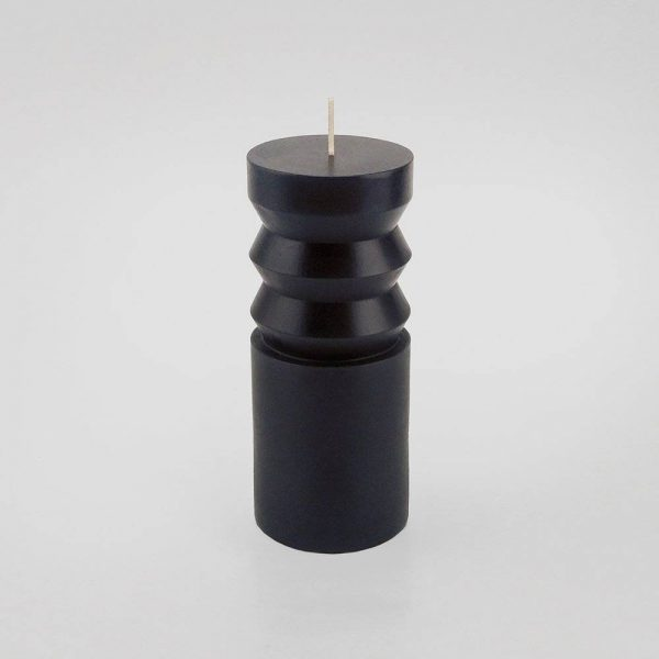 "6"" x 2.5"" Unscented Pillar Candle Black - Opalhouse"