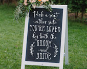 Pick a seat DIY Wedding Sign Decal Chalkboard Sign Decal Choose a seat either side sign Wedding Decor