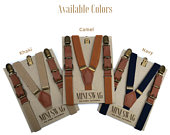 Boys Leather Buckle Suspenders CAMEL, NAVY, KHAKI perfect for Ring Bearer and Page Boy Outfits, Birthday and Cake Smash, Weddings