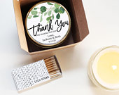 Wedding Favor Candles Eucalyptus Greenery Wedding Favors Personalized Wedding Favors Soy Candle Favor Boxed Wedding Favor Set of 6