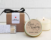 Wedding Favor Candles Merci Beaucoup Label Design Thank You Wedding Favors Personalized Wedding Favors Soy Candle Favor Set of 6